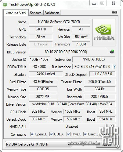 NVIDIA GeForce GTX 780 Ti GPU Z Shot  1